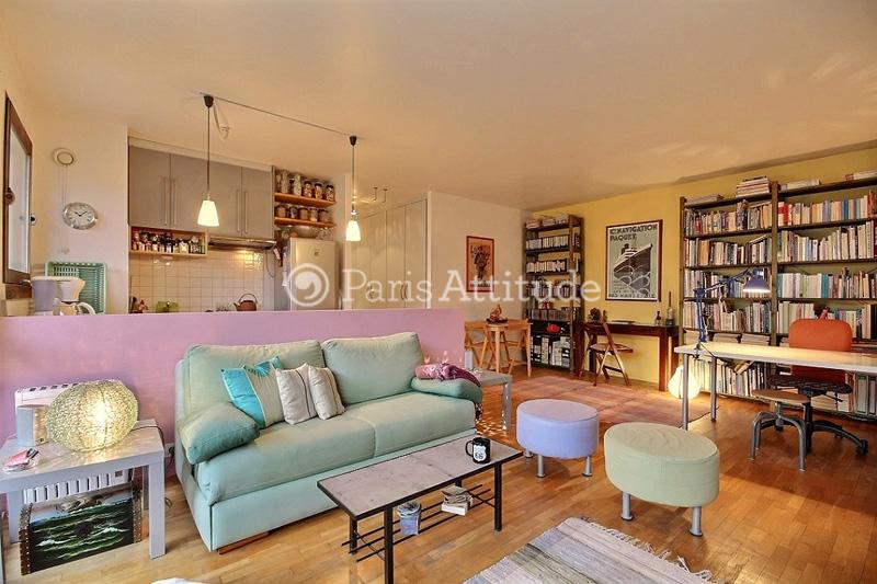 Rent apartment in paris 75020 53m p re lachaise ref 12774 for Living room 75020