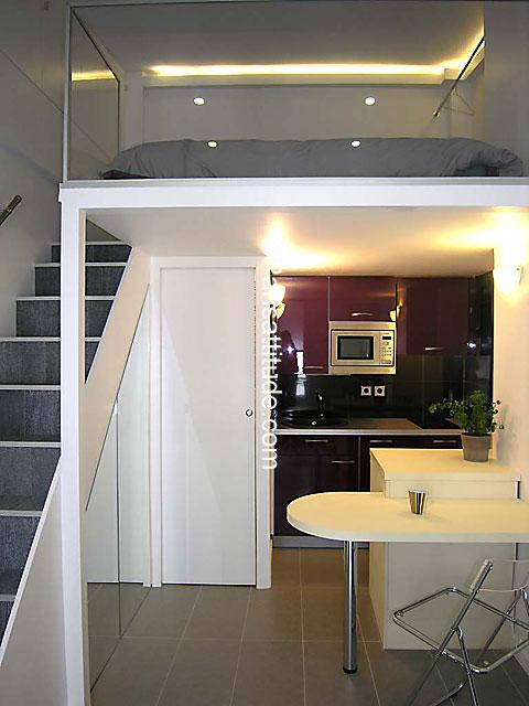 Louer un appartement paris 75015 15m eiffel tower champs de mars ref 5974 - Studio plan met mezzanine ...